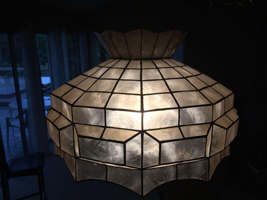 lot 36 of 134 vintage hanging capiz shell light fixture chandelier. Black Bedroom Furniture Sets. Home Design Ideas