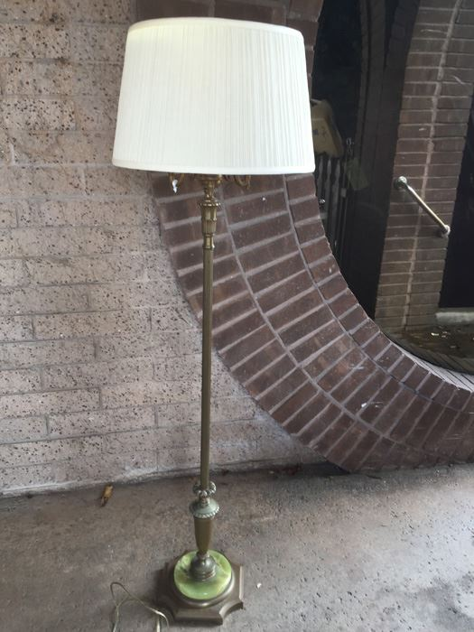 Vintage Candelabra Torchiere Floor Lamp With Green Marble Base Photo 1