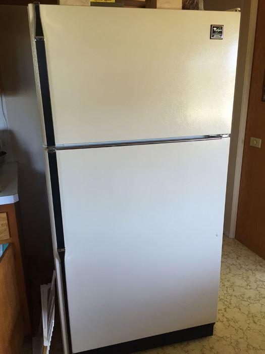 very clean whirlpool designer style fridge refrigerator. Black Bedroom Furniture Sets. Home Design Ideas