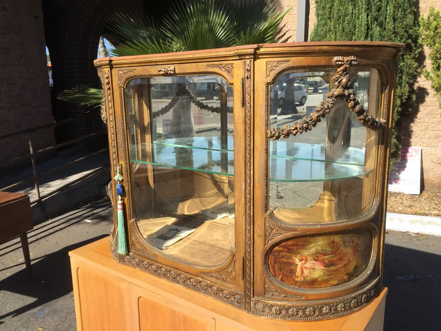 Antique French Gilt Wood Curved Glass Curio Cabinet [Photo 1]