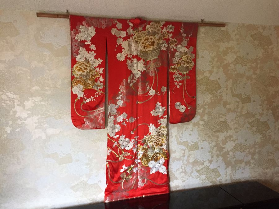 Old 20th century japanese red silk wedding kimono red silk ground old 20th century japanese red silk wedding kimono red silk ground with gold thread embroidery and junglespirit Gallery
