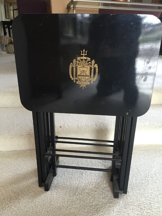 Set Of Four Black Lacquer Folding TV Tray Tables With Stand From U. S.  Naval Academy [