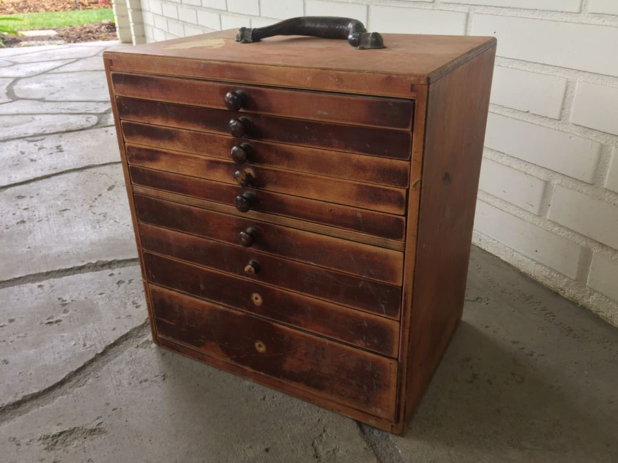 Vintage Dental Cabinet With Nine Sliding Drawers From The American Cabinet  Co. [Photo 1