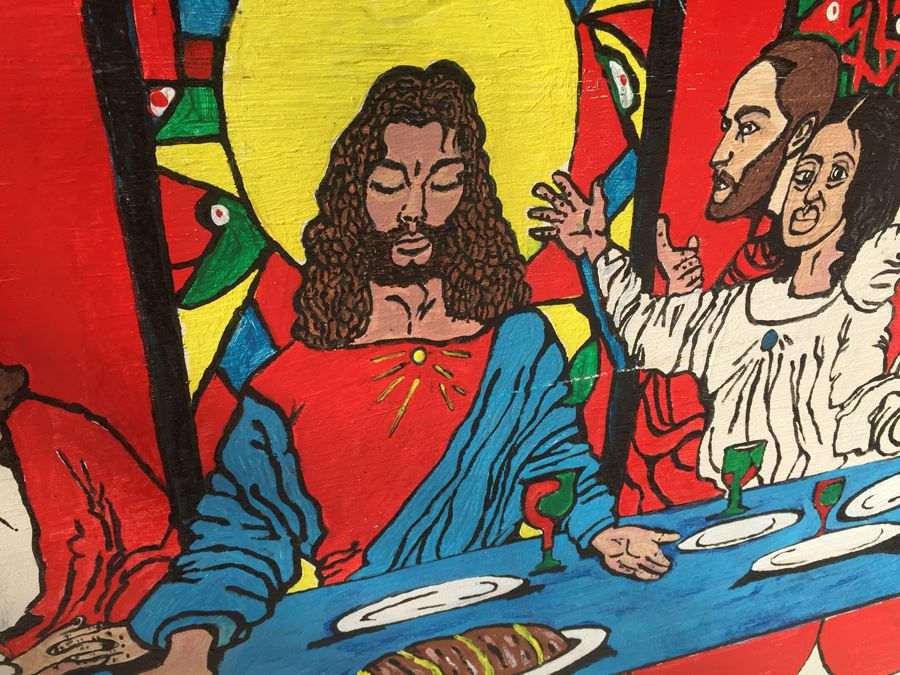 Oil Painting On Board Of Last Supper From African American Artist In