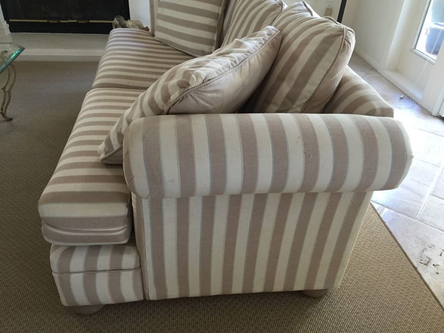 Upholstered Striped Sofa Sleeper