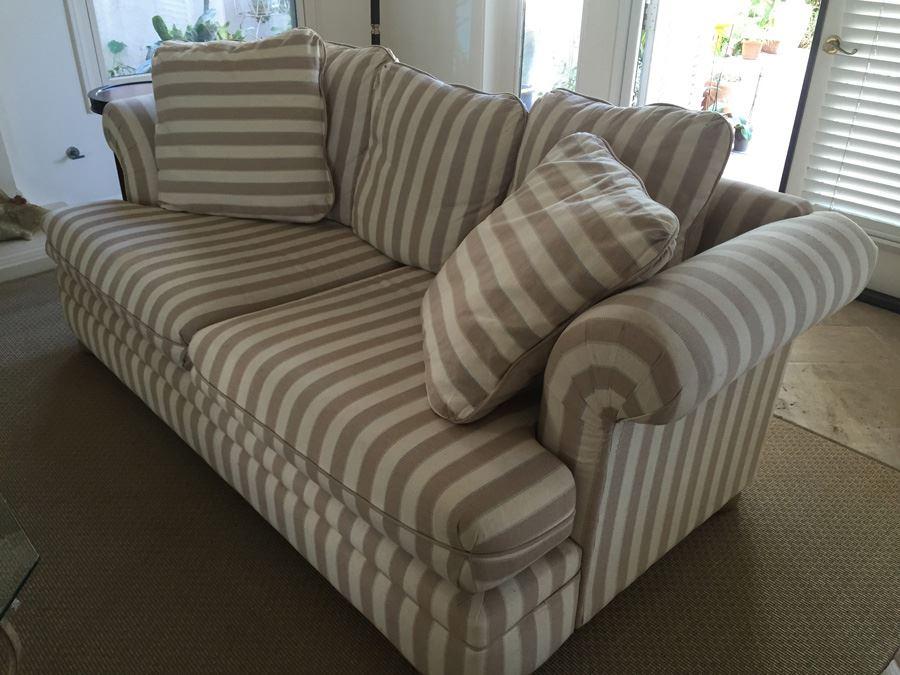 Upholstered Striped Sofa Sleeper