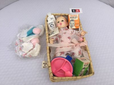 Vintage Gerber Baby Doll With Basket Accessories Formula