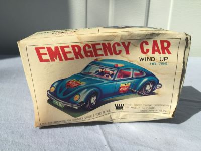 Emergency Car Wind Up Tin Litho Toy COTC New In Box
