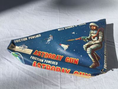 Vintage Astroray Gun Friction Powered Tin Litho New In Box COTC