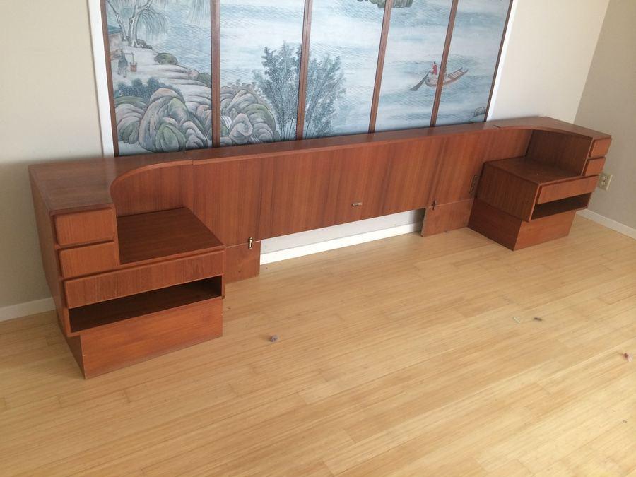Danish Komfort King Size Headboard Bed w/ Built-in Nightstands