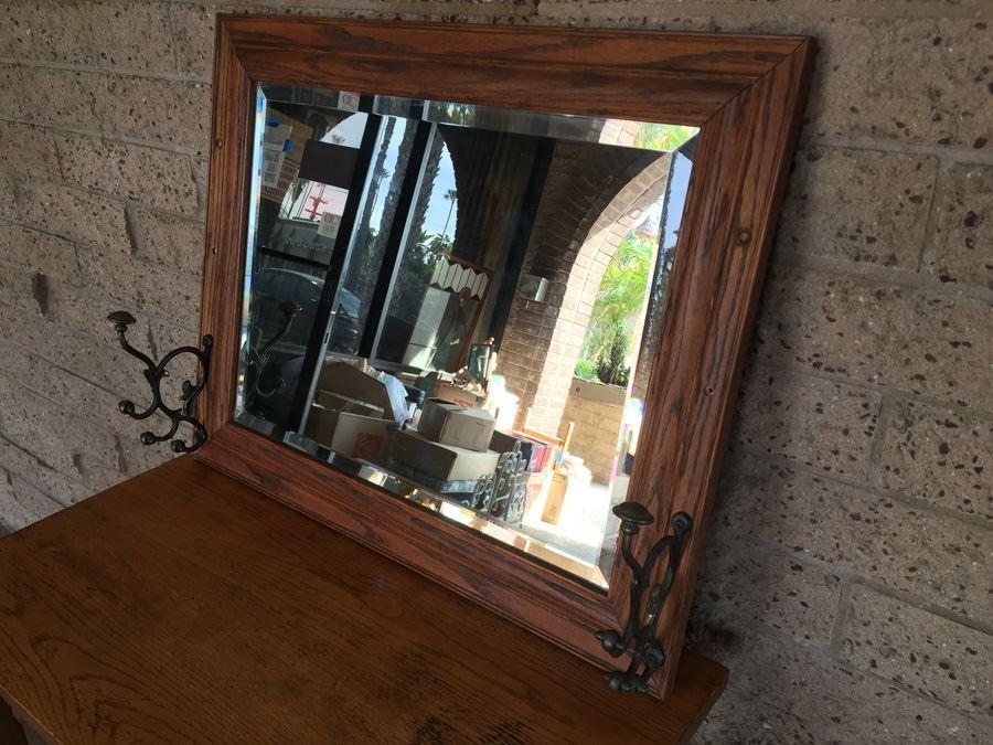 Vintage Wooden Beveled Mirror Coat Hanger Hensley Company Pasadena CA  [Photo 1]