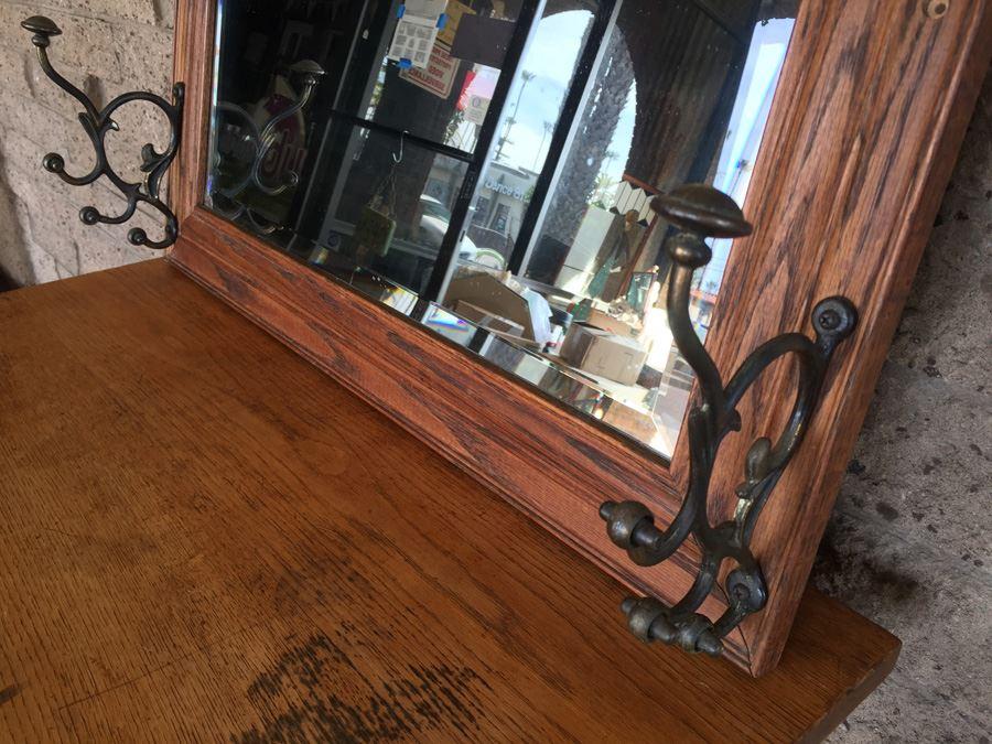 Vintage Wooden Beveled Mirror Coat Hanger Hensley Company Pasadena CA  [Photo 2]