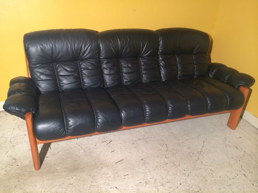 Ekornes Teak and Black Leather Sofa - Made in Norway