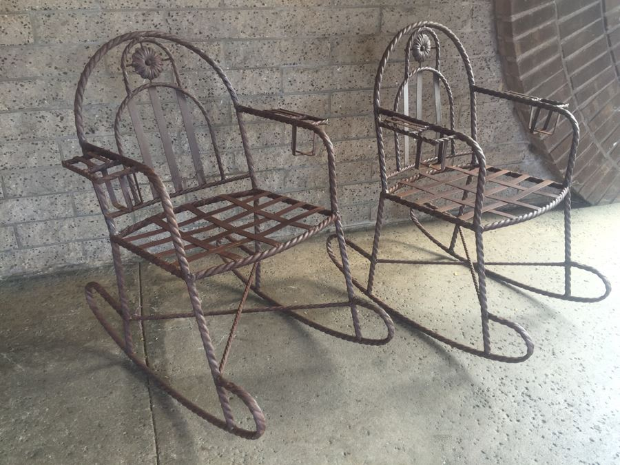 Wrought Iron Rocking Chairs With Built In Cup Holders [Photo 2]