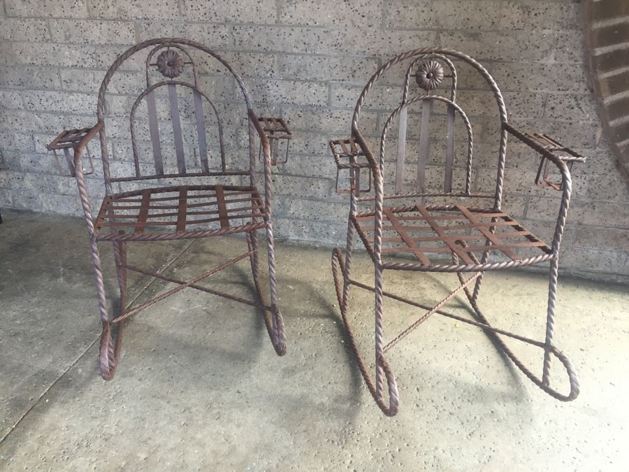 Wrought Iron Rocking Chairs With Built In Cup Holders [Photo 1]