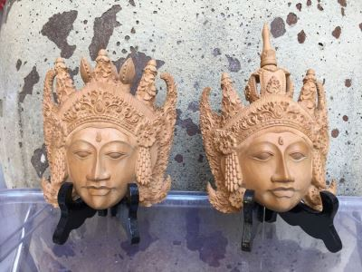 Pair Of Finely Hand Carved Asian Faces Heads With Stands Signed CATRA