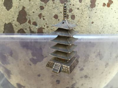 Sterling Silver Five-Storied Pagoda Daigoji Temple With Hidden Compartment Underneath Incense Burner