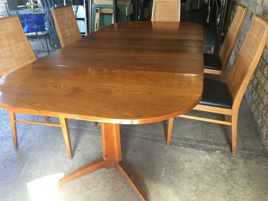 Mid-Century Modern Table With 6 Cane Back Chairs By Foster