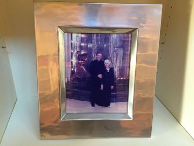 Beautiful Silver And Wood Frame Showing Photo Of Monsignor Dennis Clark With His Mother