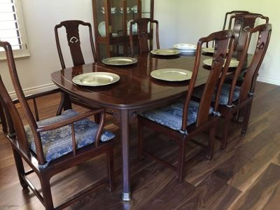 Henredon Rosewood Chinoiserie Formal Dining Table With 2 Leaves And Eight Chairs