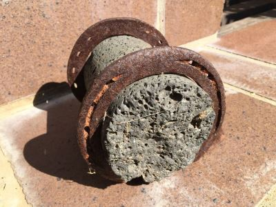 Interesting Art Piece Volcanic Core? With Welded Horseshoes Doorstop Horse Hitching Post