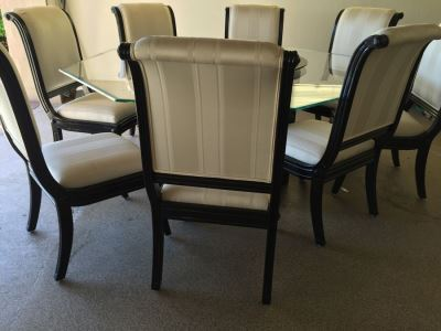 Large Designer Table With Marble Base, Dual Glass Tops And Eight Chairs