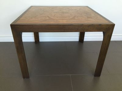 Designer Side Table With Burl Wood Top