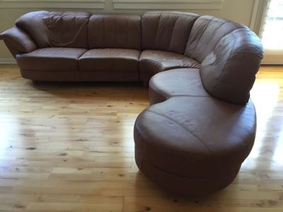 German Leather Schillig? Sectional Sofa One Side Pivots To Extend Out Or In - Light Brown