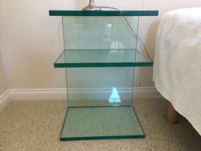 Pair Of Contemporary Modernist Glass Nightstands