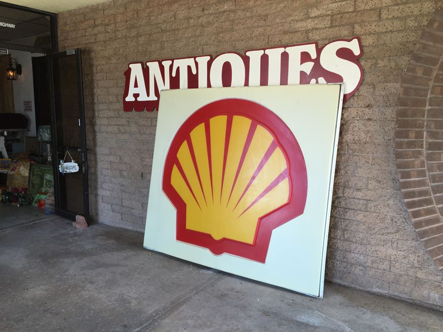 large shell gas station sign aluminum frame with plastic sign
