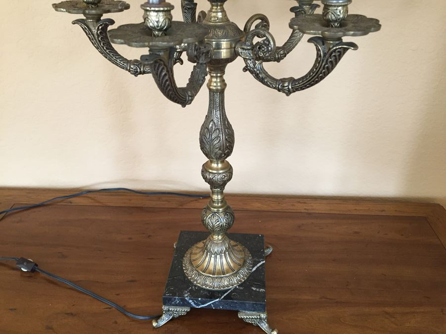 Vintage Brass Candelabra Lamp With Footed Marble Base Five Arm