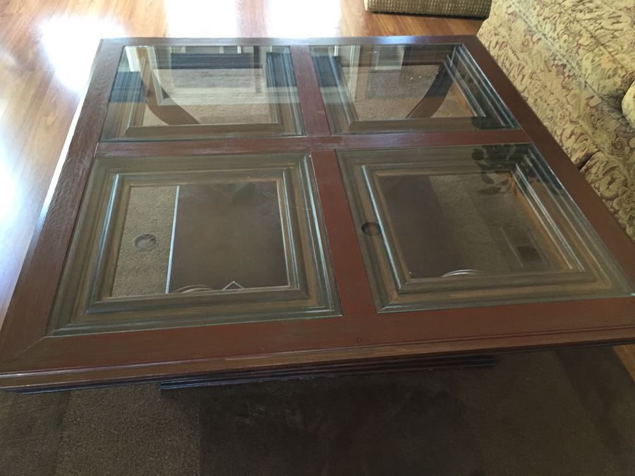 Wooden Coffee Table With Four Panel Glass Inserts Photo 4. Wood Coffee Table  With Glass