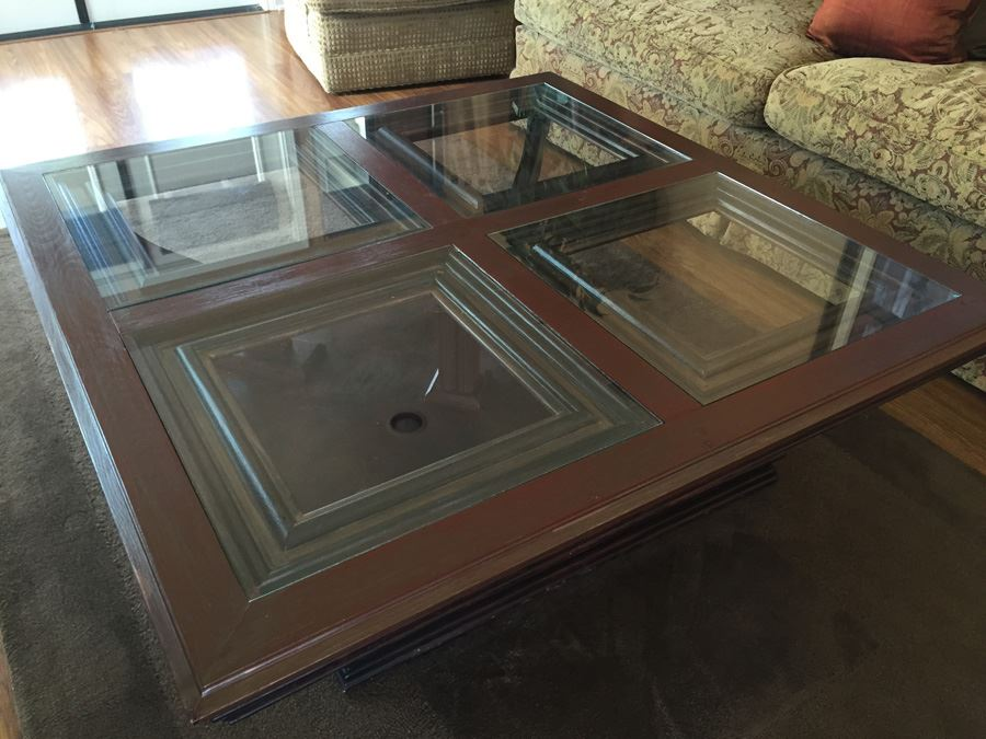 Wooden Coffee Table With Four Panel Glass Inserts