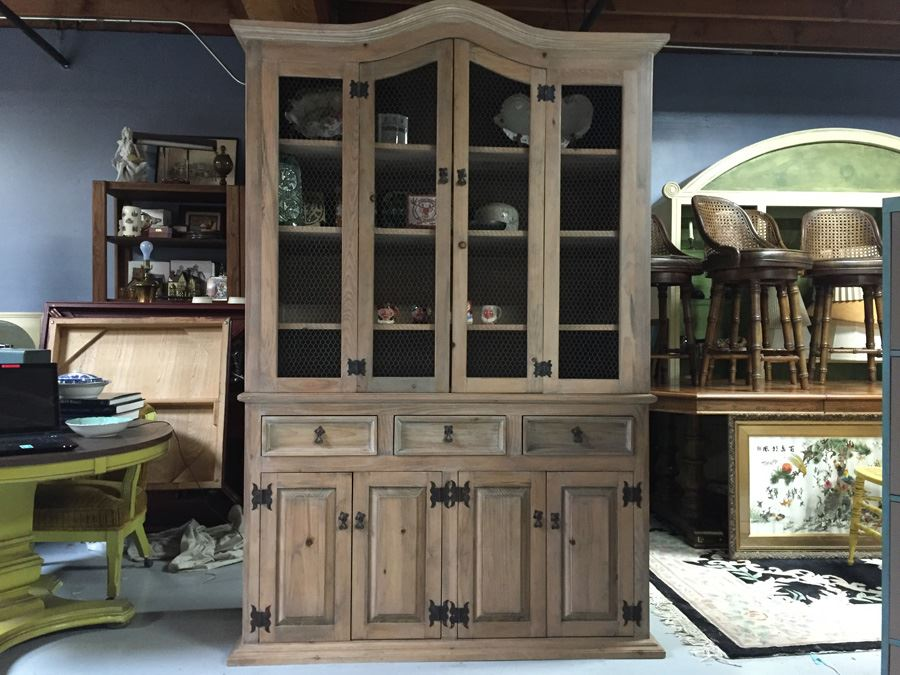 Country French China Cabinet With Chicken Wire Cabinet Door Inserts