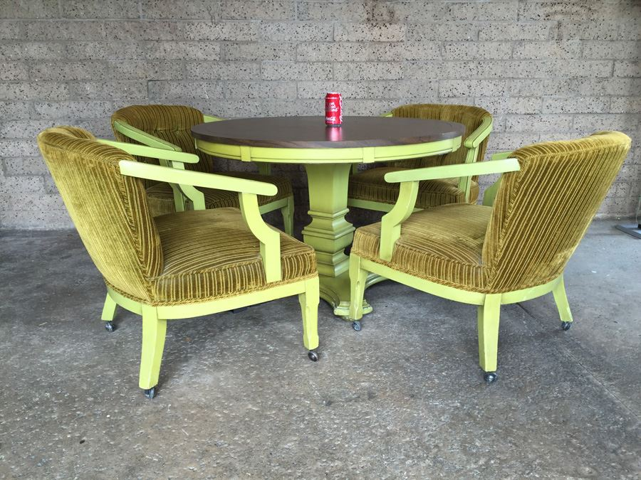 Vintage Green Pedestal Table With Four Upholstered Chairs