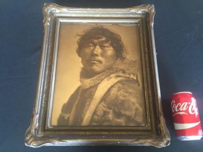 RARE Antique 1905 Lomen Bros Orotone Goldtone Photo Eskimo Indian Nome Alaska Antique Frame