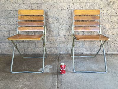 (2) Vintage Folding Metal And Wood Chairs