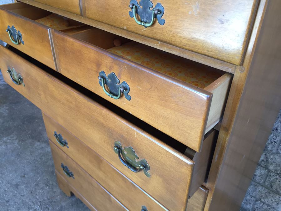 Vintage Maple Five Drawer Chest Of Drawers With Pull Out Desk