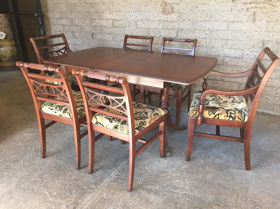 Stunning Wooden Dining Table With Built In Leaf Brass