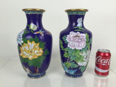 Pair Of Tall Blue Chinese Cloisonne Vases
