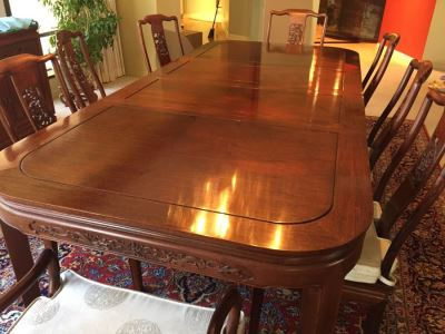Stunning Chinese Rosewood Dining Table With 8 Rosewood Chairs (2 Armchairs) And 2 Leaves