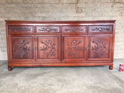 Stunning Chinese Rosewood Buffet Sideboard Credenza