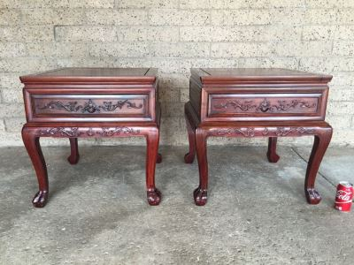 Pair Of Stunning Chinese Rosewood End Tables