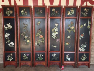Stunning 6 Panel Chinese Rosewood Screens With Hand Carved Stone Jade Coral Relief Images Of Wildlife Birds Plants