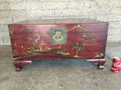 Nice Contemporary Chinese Red Painted Trunk Great For Coffee Table