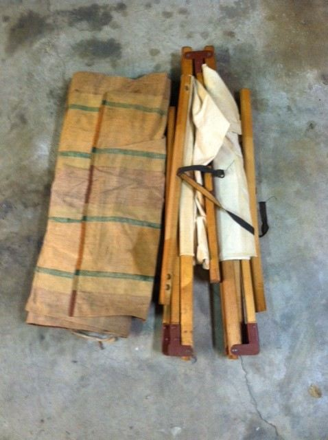 Vintage Folding Wooden Camping Cot