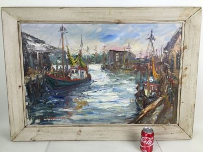 JUST ADDED - Stunning Large Original Oil On Canvas Painting Nautical Harbor Scene Signed Lower Left David Pallock (1906 - 1977) Listed Artist