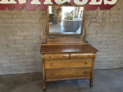 Antique Dresser Chest Of Drawers With Swivel Mirror