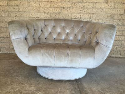 Awesome Mid-Century Tufted Swivel Chair
