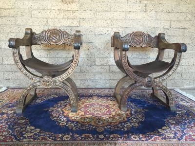 Pair Of Vintage Spanish Carved Wood Throne Chairs With Leather Seats